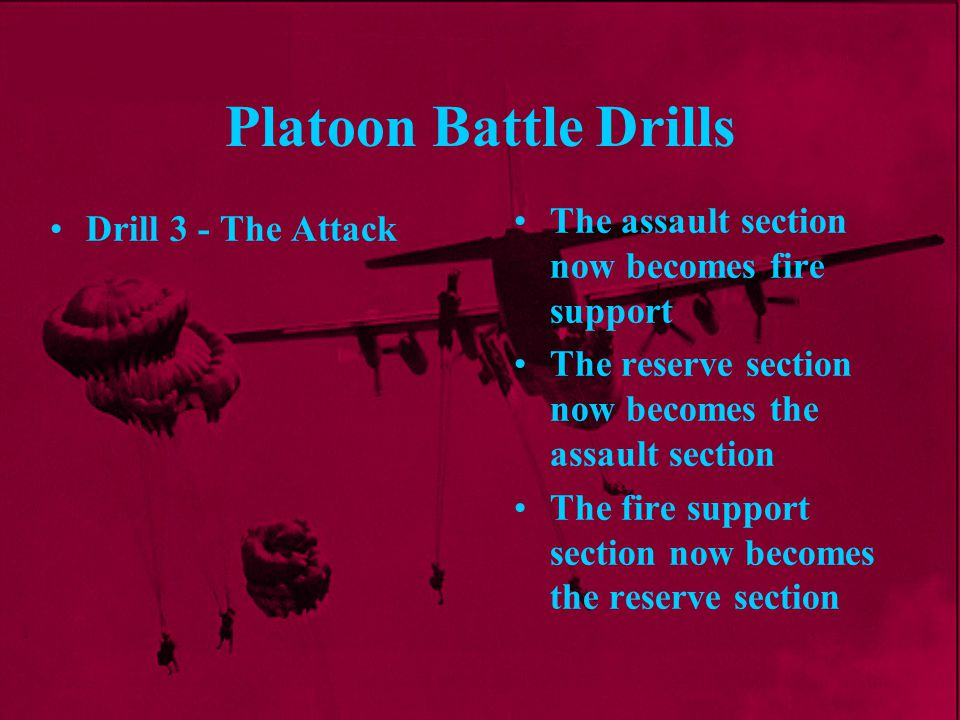 Platoon Battle Drills The assault section now becomes fire support