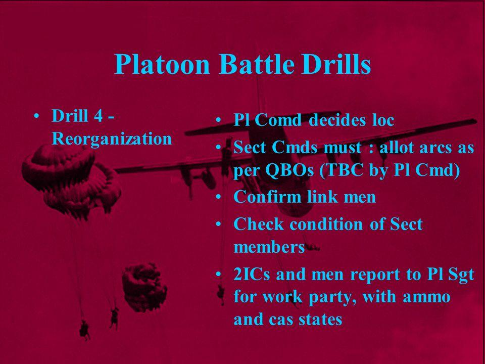 Platoon Battle Drills Drill 4 - Reorganization Pl Comd decides loc