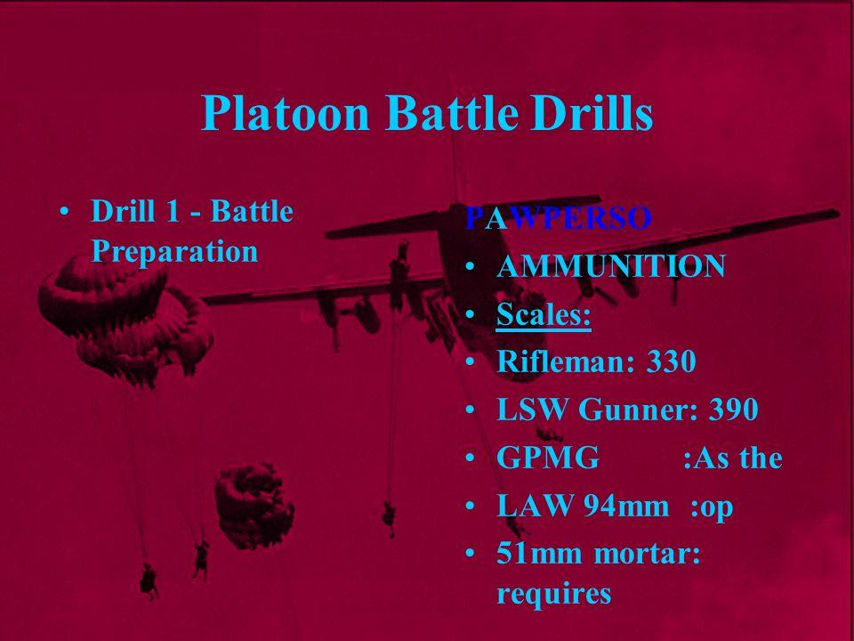 Platoon Battle Drills Drill 1 - Battle Preparation PAWPERSO AMMUNITION
