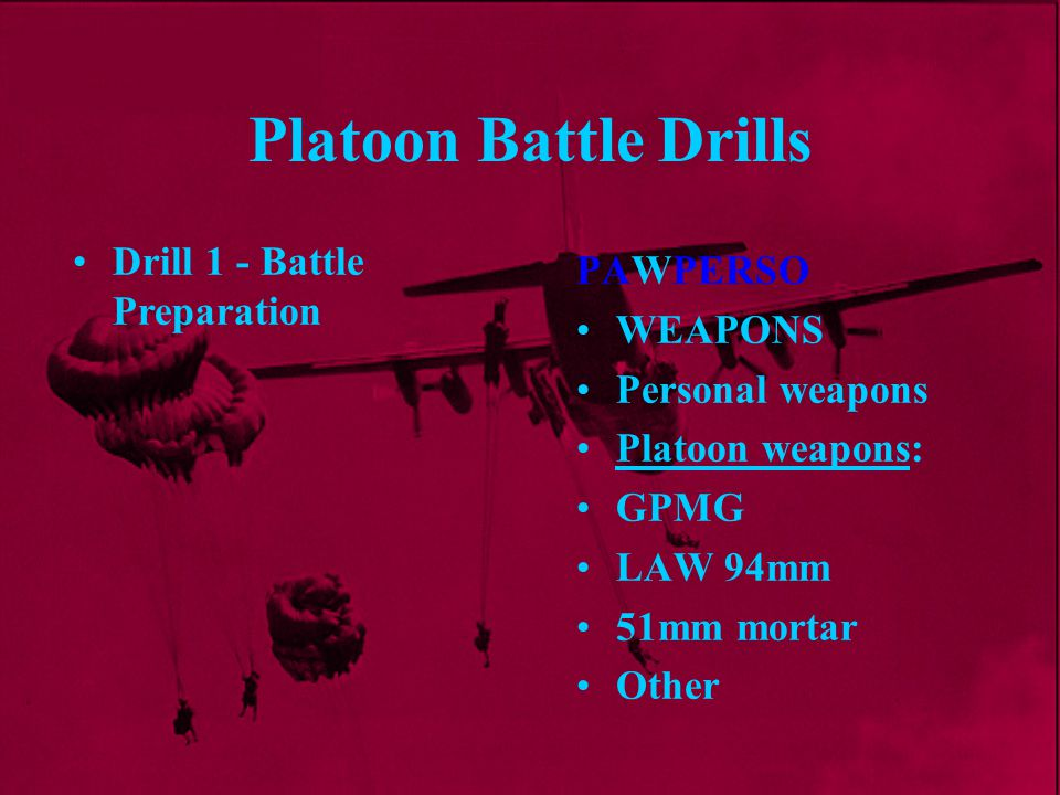 Platoon Battle Drills Drill 1 - Battle Preparation PAWPERSO WEAPONS