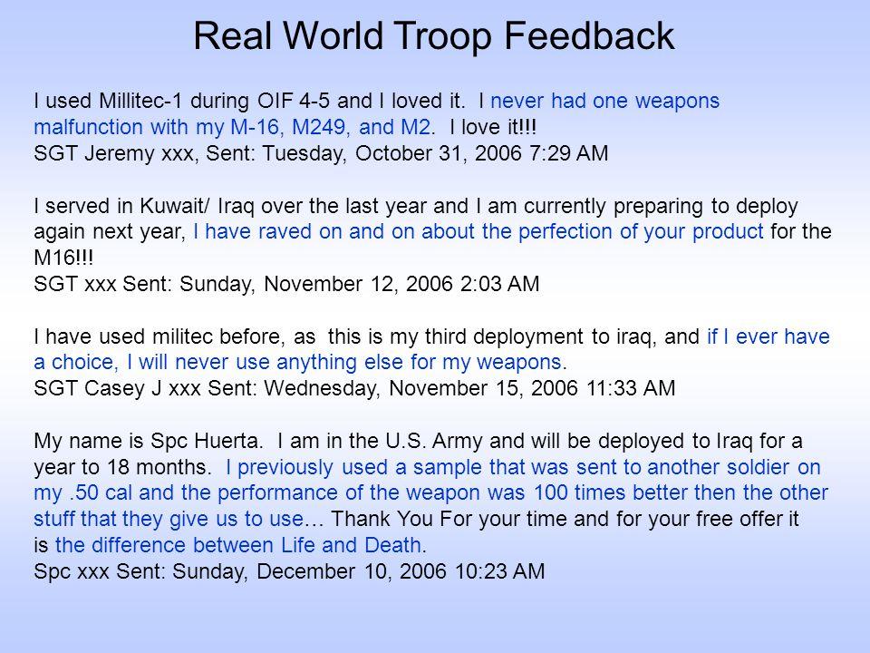 Real World Troop Feedback
