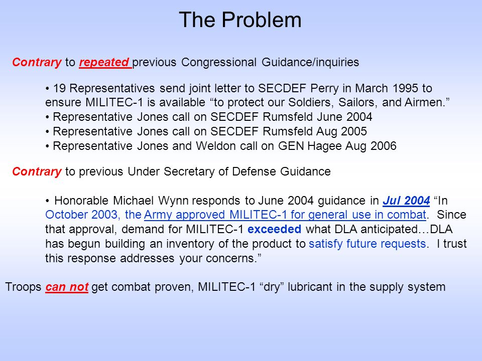 The Problem Contrary to repeated previous Congressional Guidance/inquiries. Contrary to previous Under Secretary of Defense Guidance.