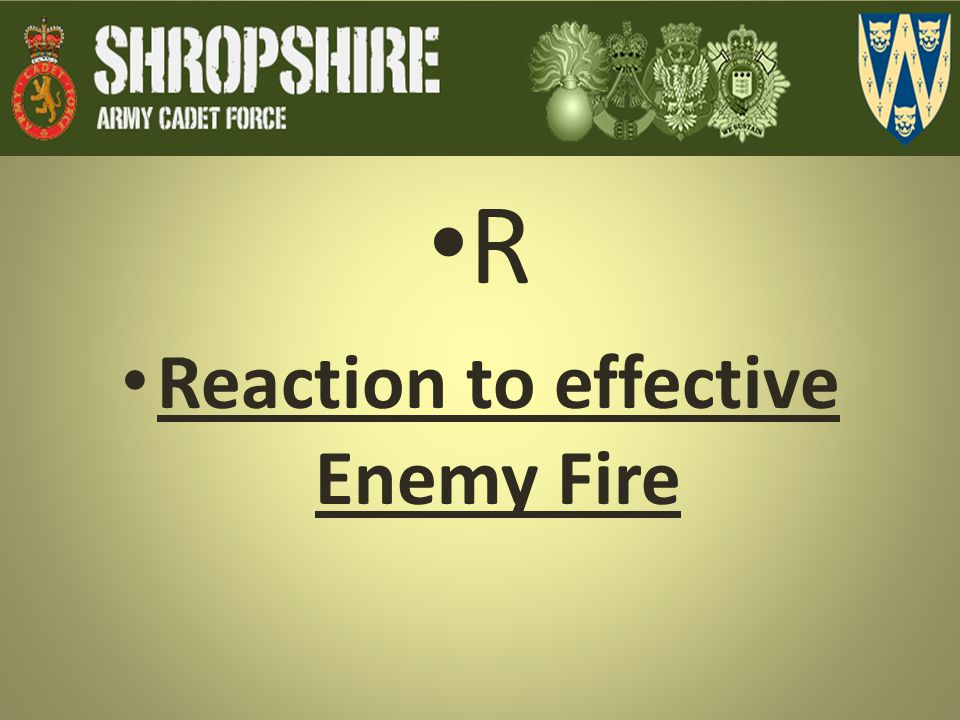 Reaction to effective Enemy Fire