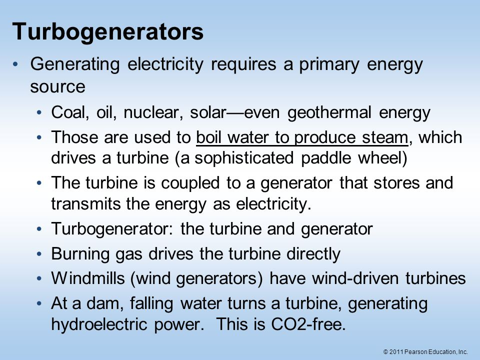 Turbogenerators Generating electricity requires a primary energy source. Coal, oil, nuclear, solar—even geothermal energy.