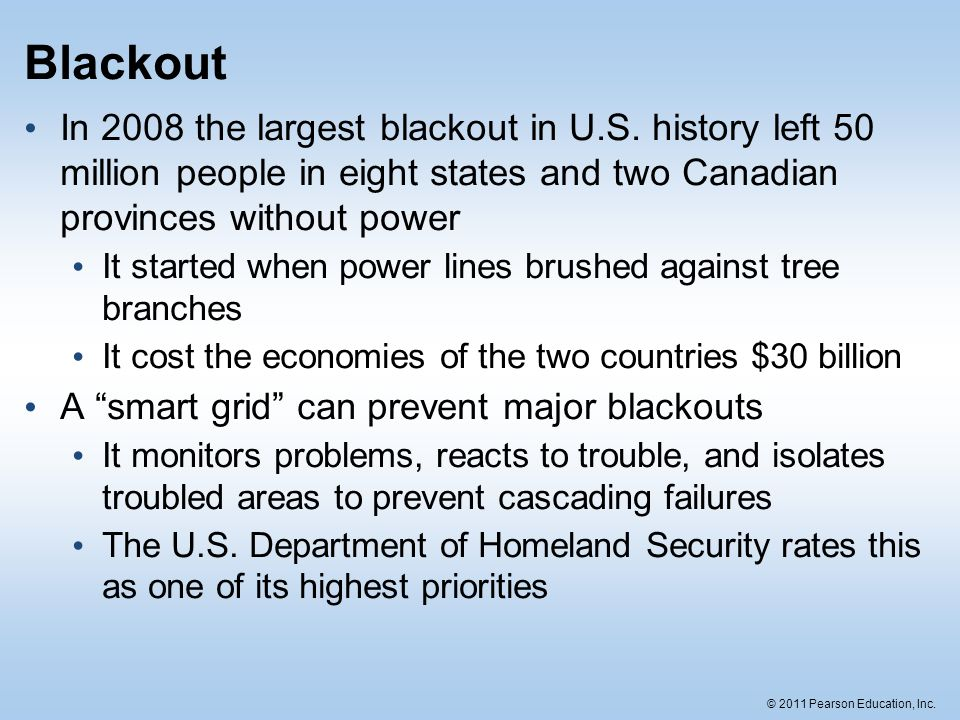 Blackout In 2008 the largest blackout in U.S. history left 50 million people in eight states and two Canadian provinces without power.