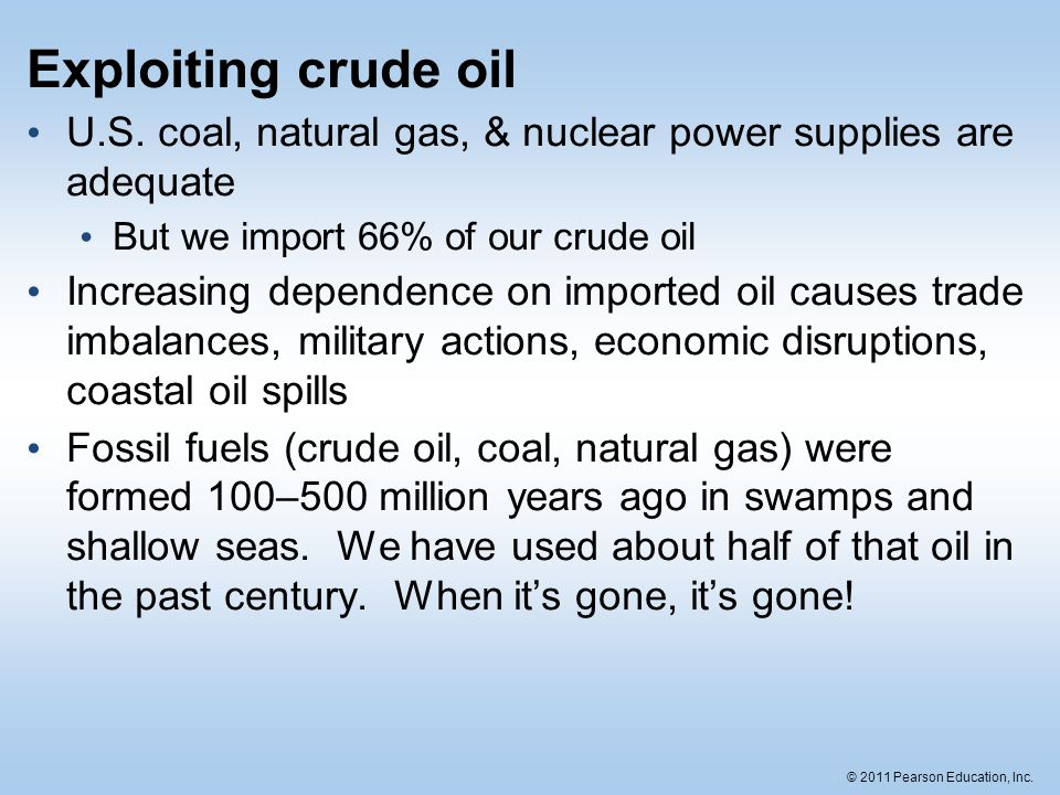 Exploiting crude oil U.S. coal, natural gas, & nuclear power supplies are adequate. But we import 66% of our crude oil.
