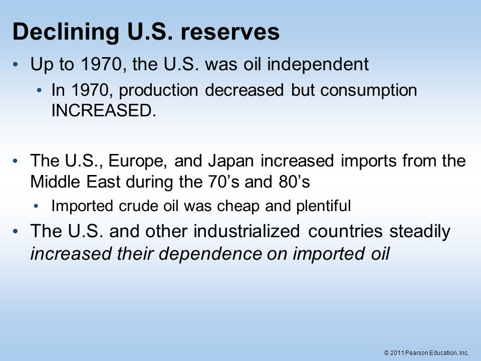 Declining U.S. reserves Up to 1970, the U.S. was oil independent