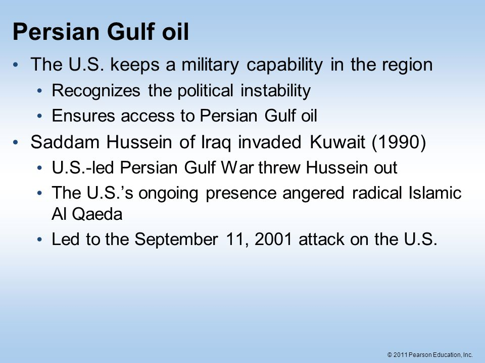 Persian Gulf oil The U.S. keeps a military capability in the region