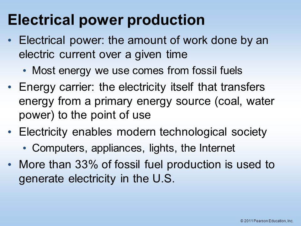 Electrical power production