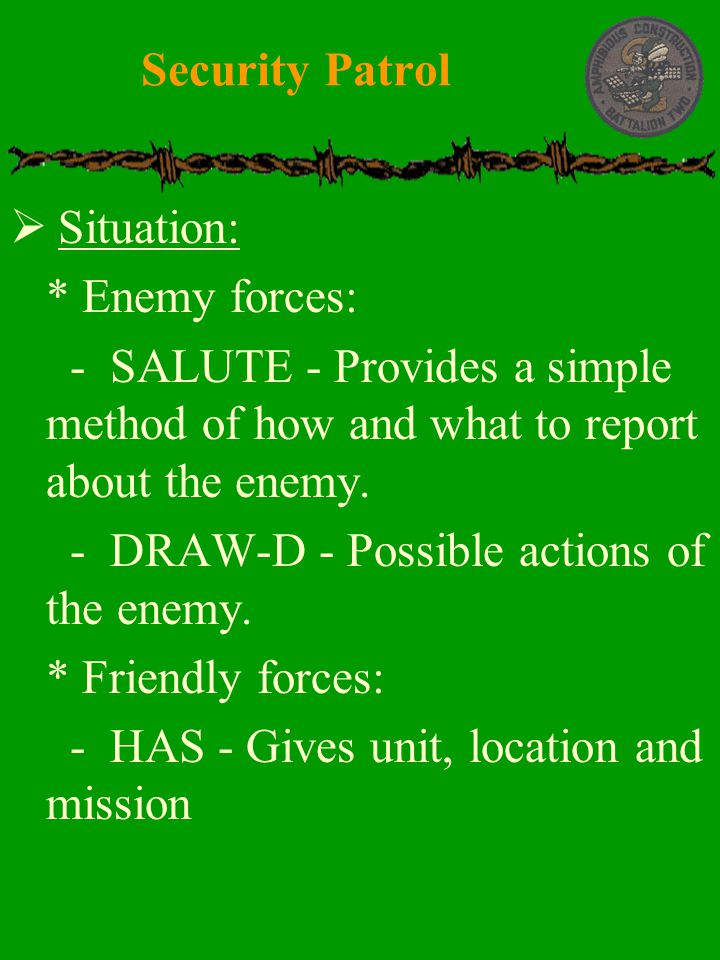 Security Patrol Situation: * Enemy forces: - SALUTE - Provides a simple method of how and what to report about the enemy.