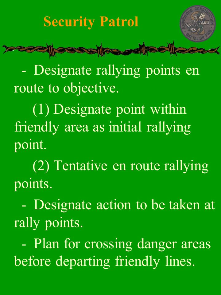 Security Patrol - Designate rallying points en route to objective. (1) Designate point within friendly area as initial rallying point.