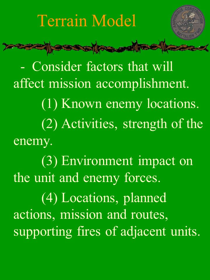 Terrain Model - Consider factors that will affect mission accomplishment. (1) Known enemy locations.