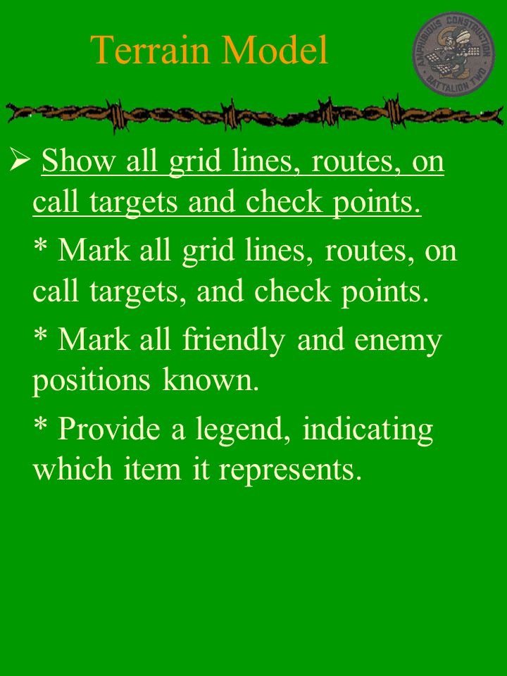Terrain Model Show all grid lines, routes, on call targets and check points. * Mark all grid lines, routes, on call targets, and check points.