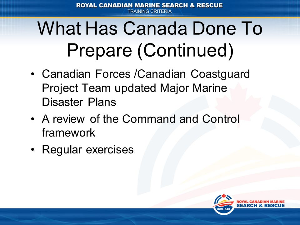 What Has Canada Done To Prepare (Continued)