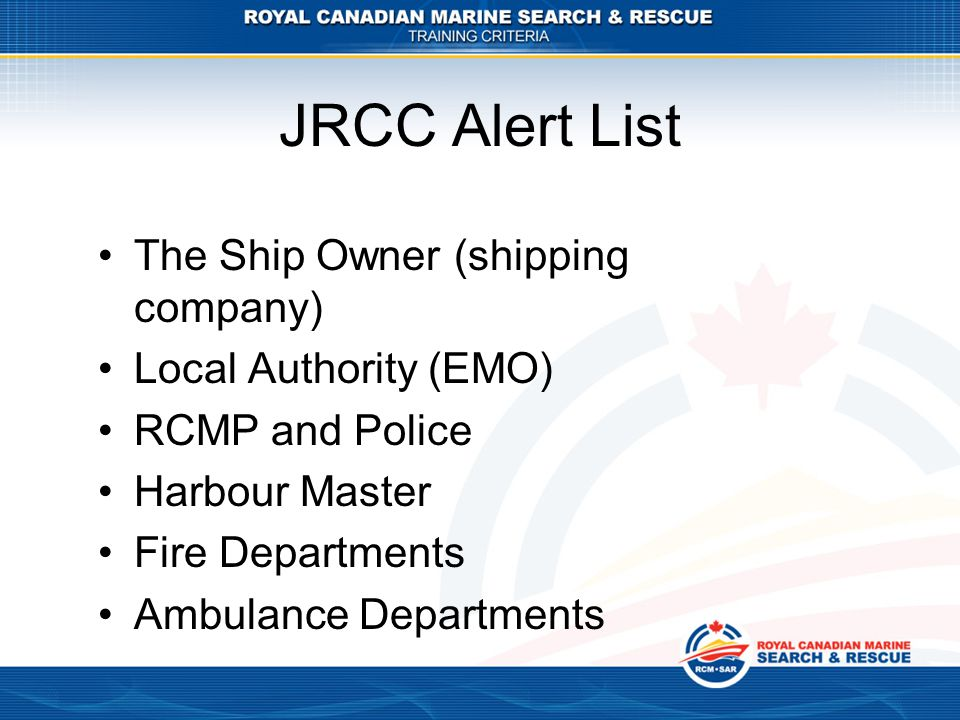 JRCC Alert List The Ship Owner (shipping company)