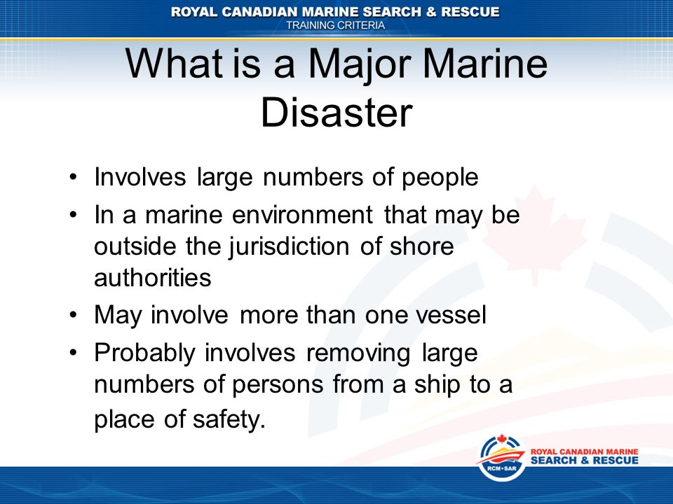 What is a Major Marine Disaster