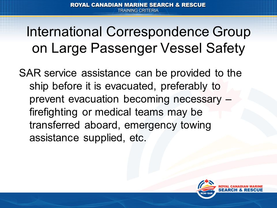 International Correspondence Group on Large Passenger Vessel Safety