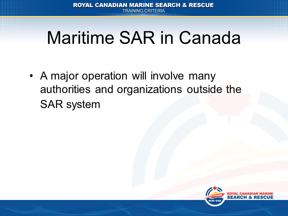 Maritime SAR in Canada A major operation will involve many authorities and organizations outside the SAR system.