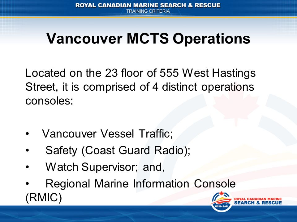 Vancouver MCTS Operations