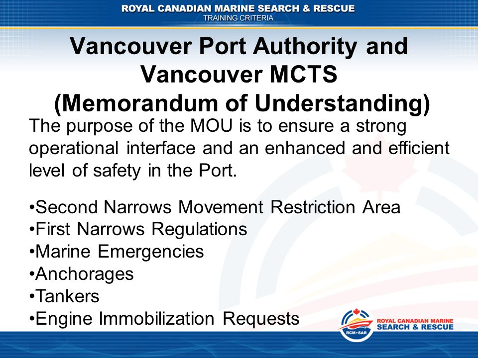Vancouver Port Authority and Vancouver MCTS (Memorandum of Understanding)