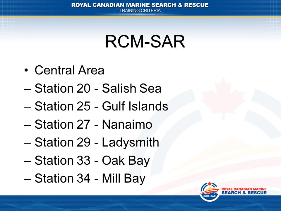 RCM-SAR Central Area Station 20 - Salish Sea Station 25 - Gulf Islands