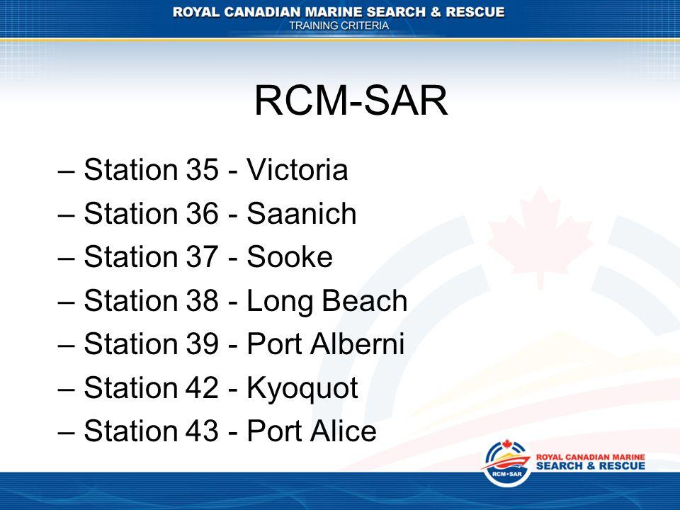 RCM-SAR Station 35 - Victoria Station 36 - Saanich Station 37 - Sooke
