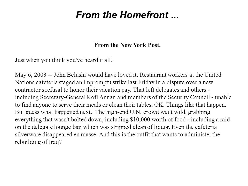 From the Homefront ...