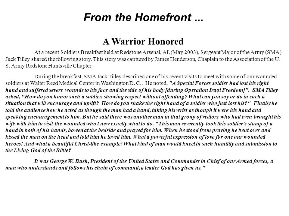 From the Homefront ... A Warrior Honored