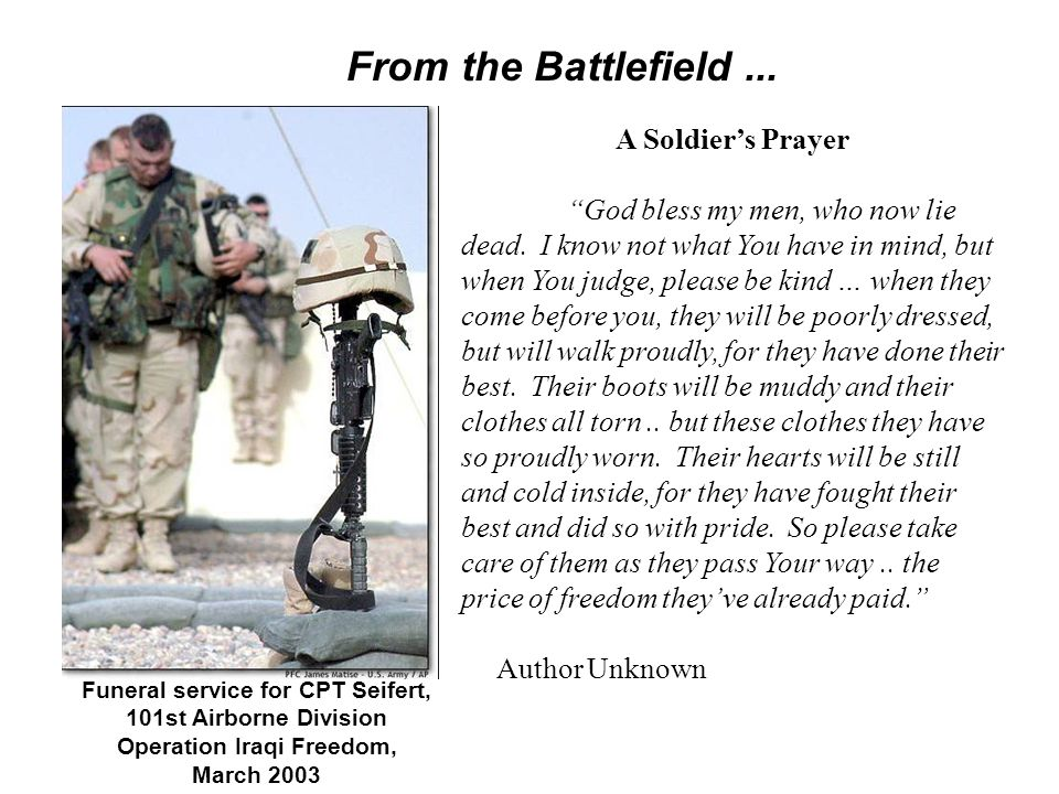 Funeral service for CPT Seifert, Operation Iraqi Freedom,