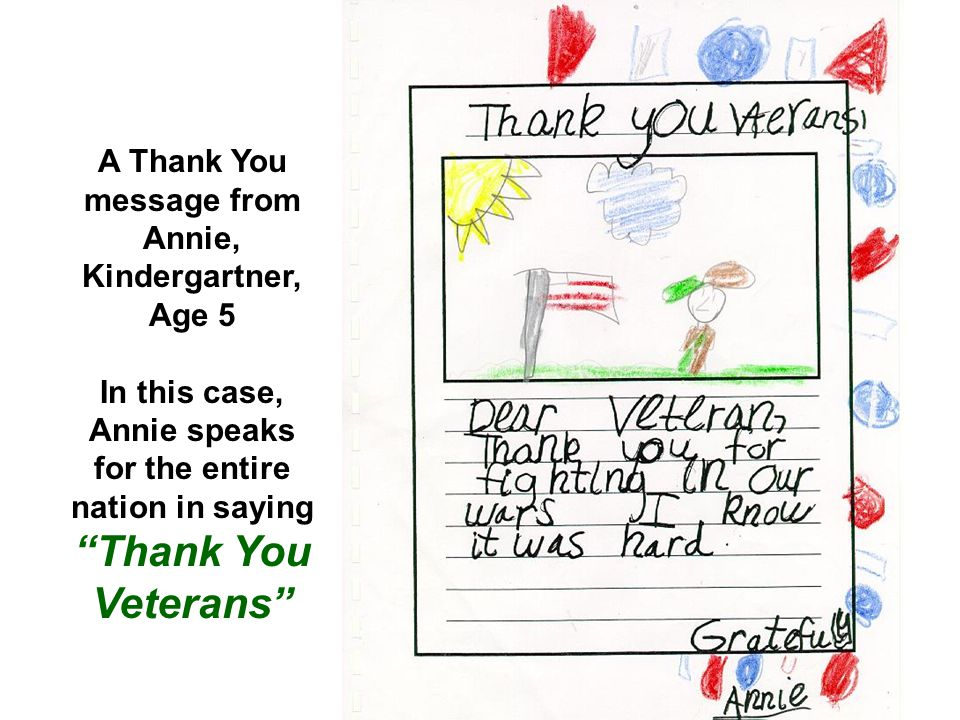 A Thank You message from Annie, Kindergartner, Age 5.