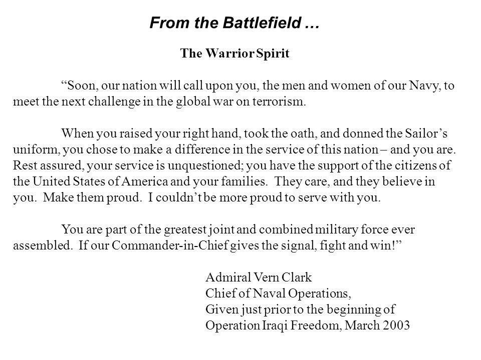 From the Battlefield … The Warrior Spirit