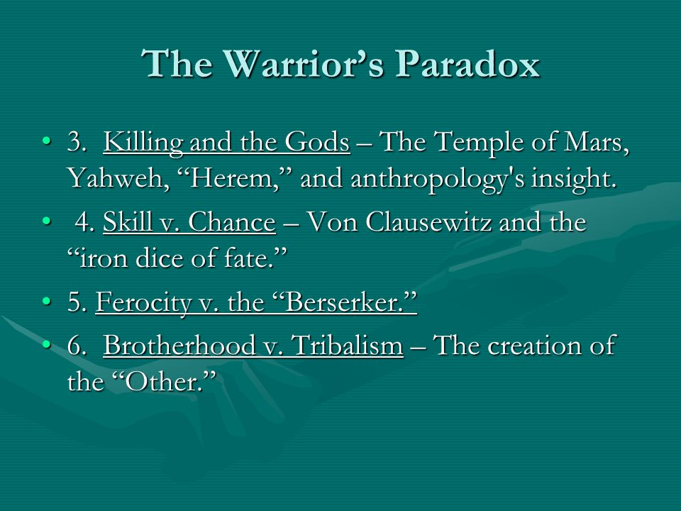 The Warrior's Paradox 3. Killing and the Gods – The Temple of Mars, Yahweh, Herem, and anthropology s insight.