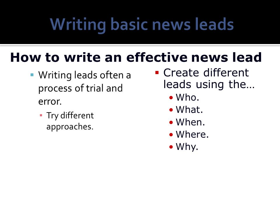 Writing basic news leads