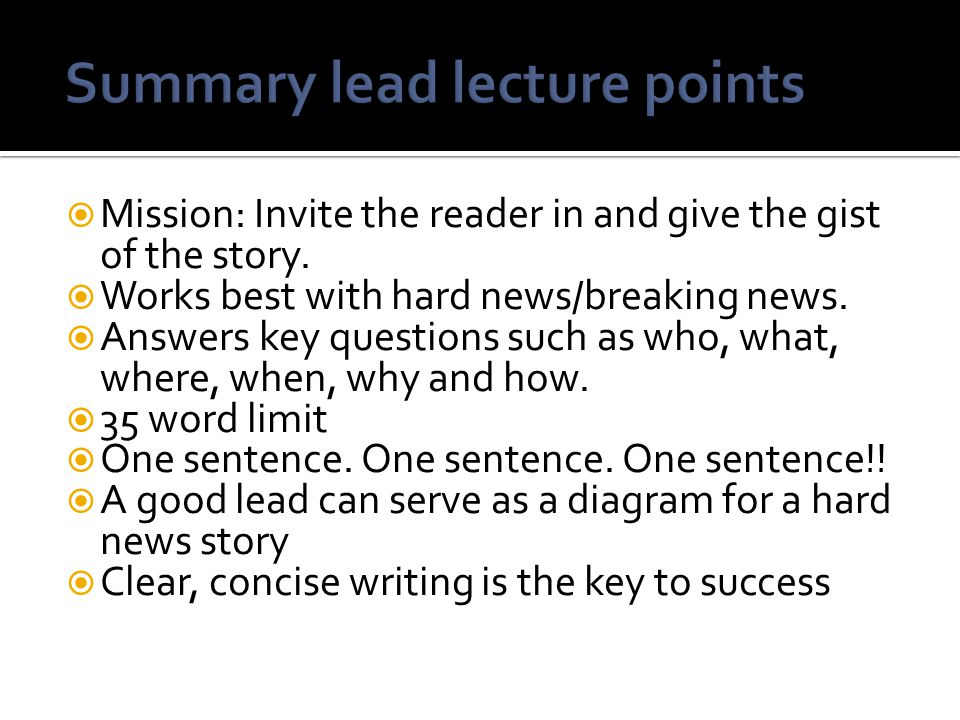 Summary lead lecture points