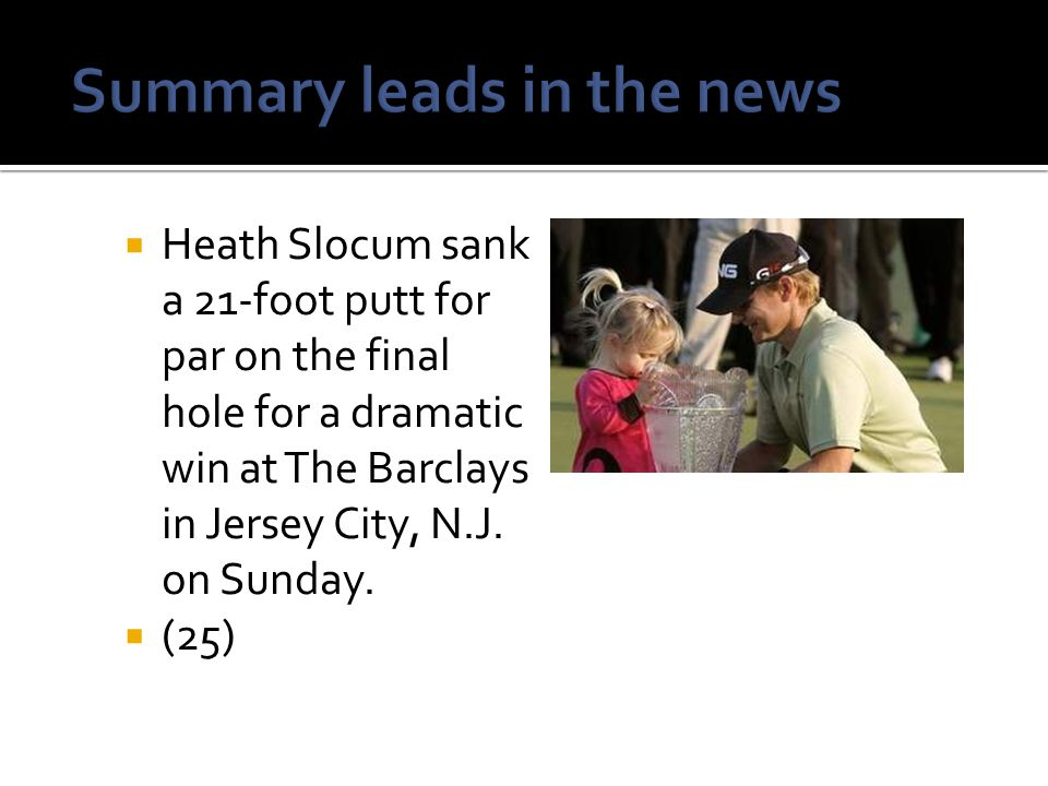 Summary leads in the news