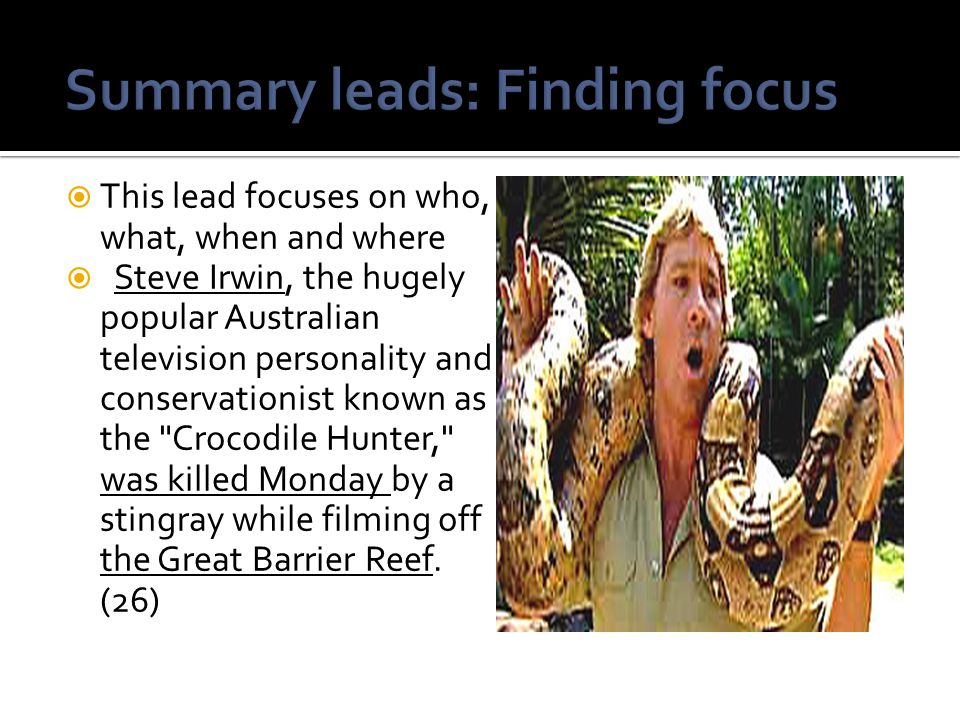 Summary leads: Finding focus