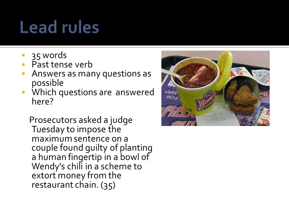Lead rules 35 words Past tense verb