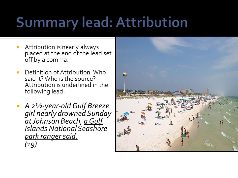 Summary lead: Attribution