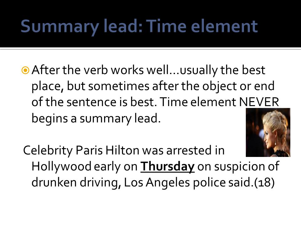 Summary lead: Time element