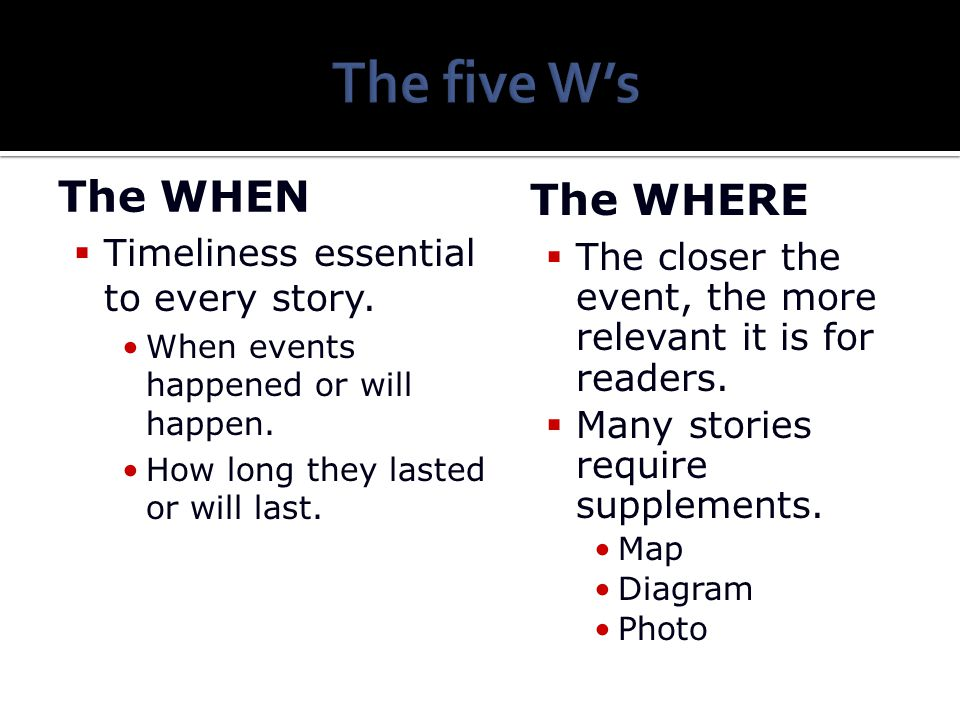 The five W's The WHEN The WHERE Timeliness essential to every story.