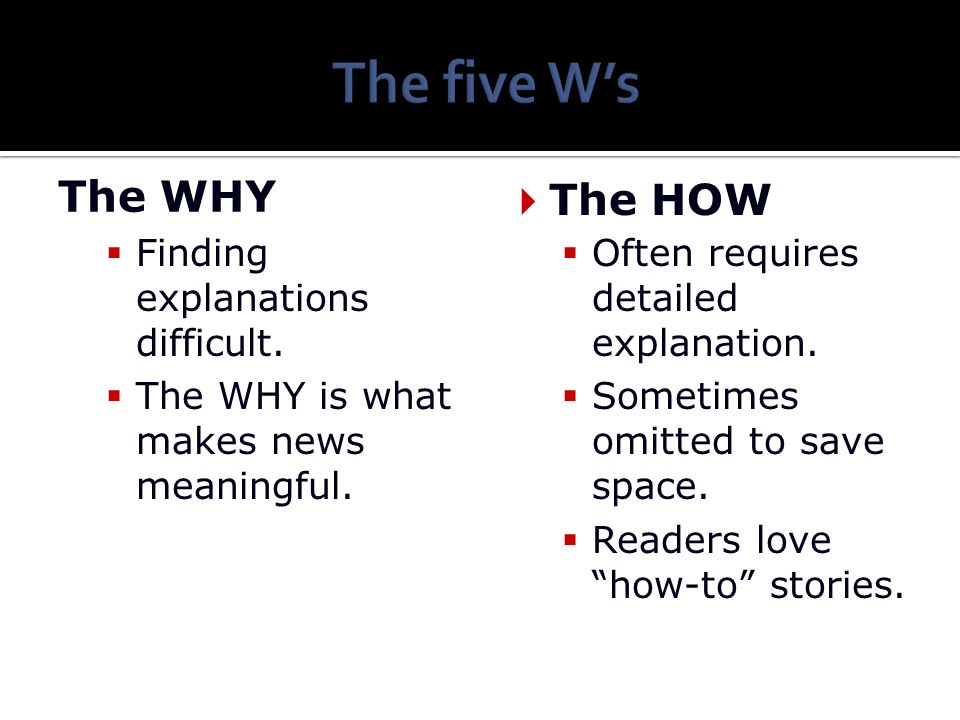 The five W's The WHY The HOW Finding explanations difficult.