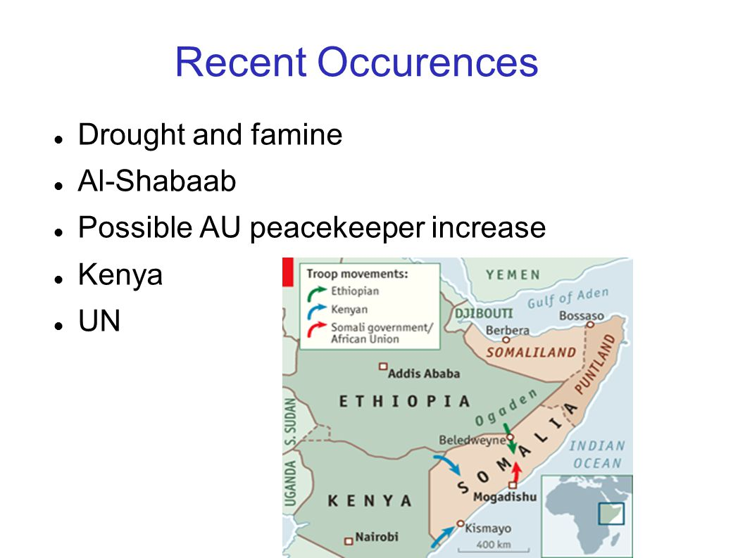 Recent Occurences Drought and famine Al-Shabaab