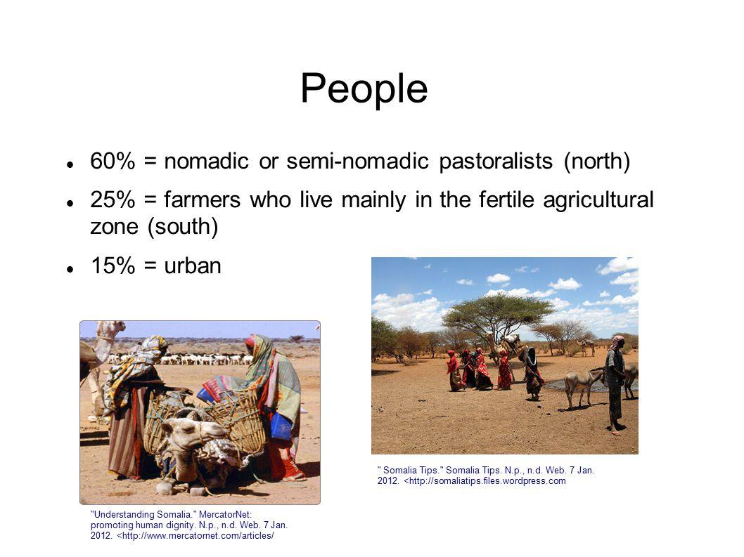 People 60% = nomadic or semi-nomadic pastoralists (north)