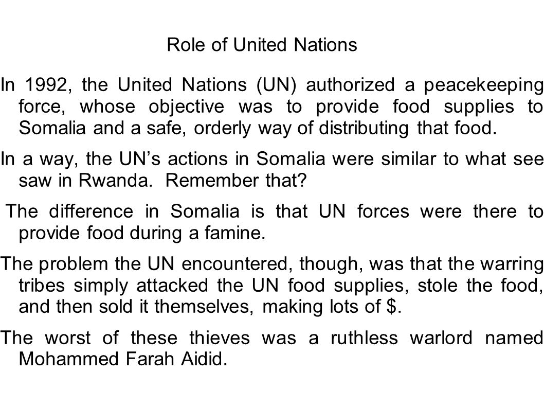 Role of United Nations