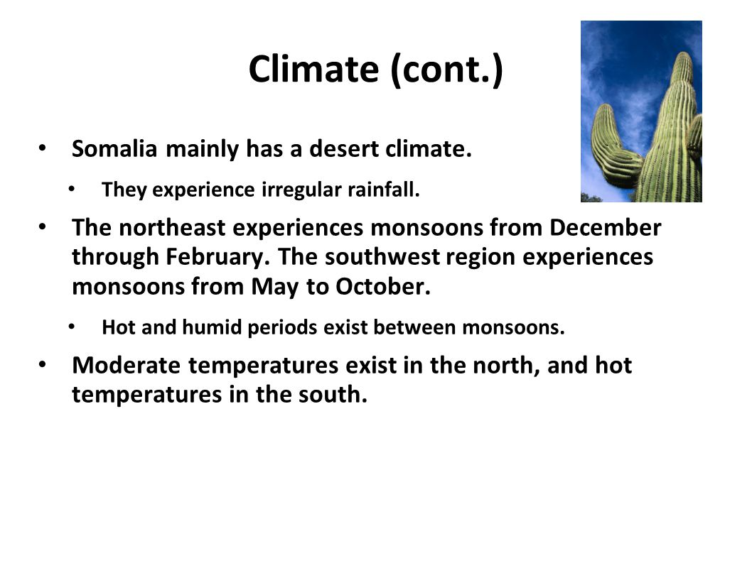 Climate (cont.) Somalia mainly has a desert climate.