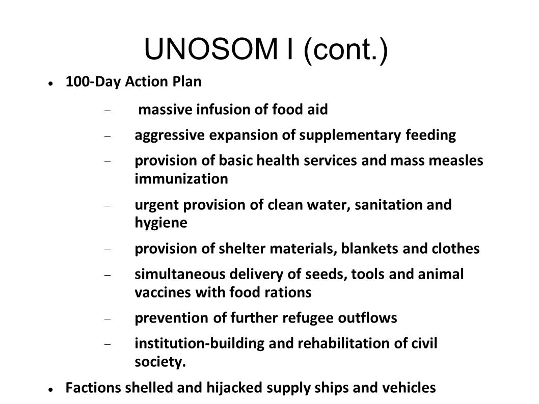 UNOSOM I (cont.) 100-Day Action Plan massive infusion of food aid