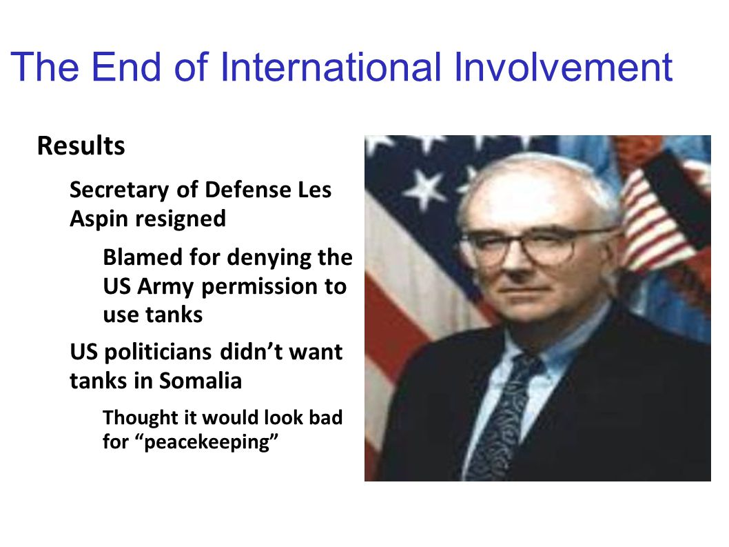 The End of International Involvement