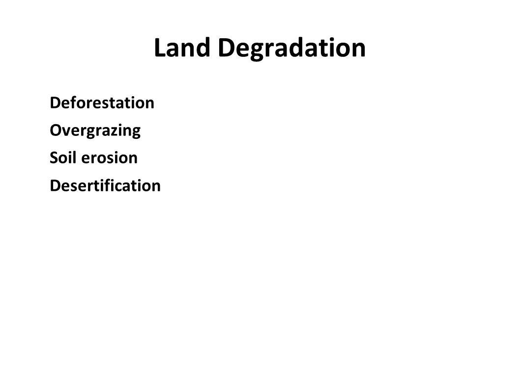 Land Degradation Deforestation Overgrazing Soil erosion Desertification