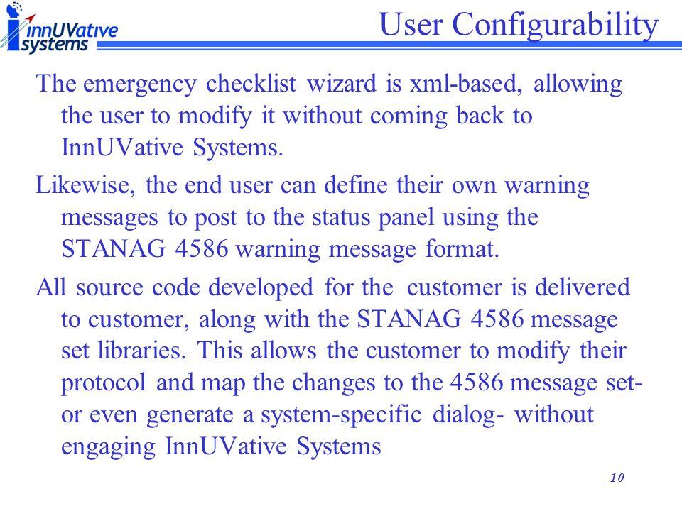 User Configurability