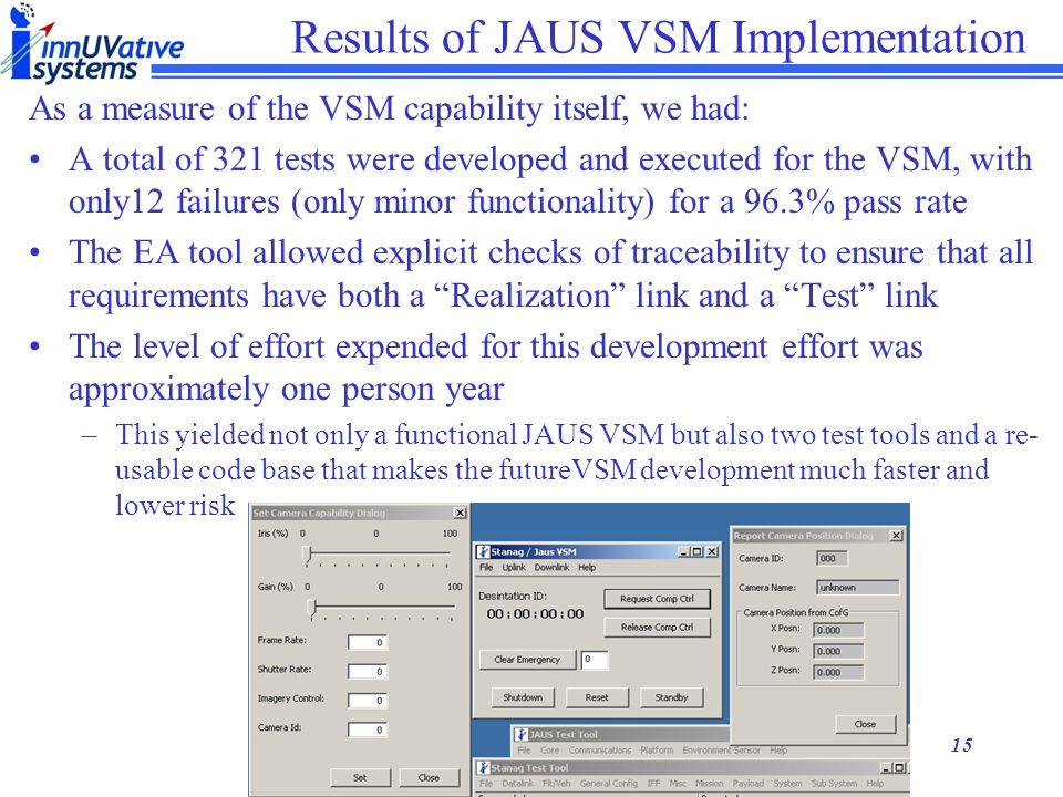 Results of JAUS VSM Implementation